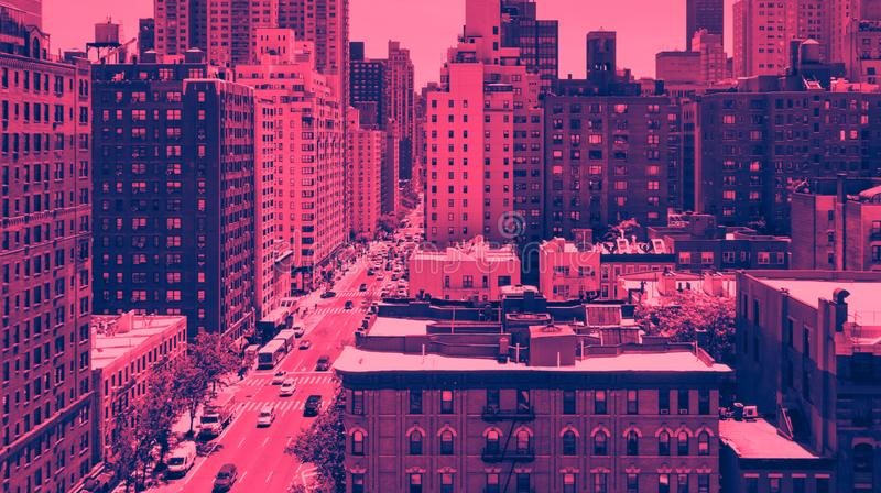Panoramic overhead view of Midtown Manhattan in New York City in pink and blue stock image