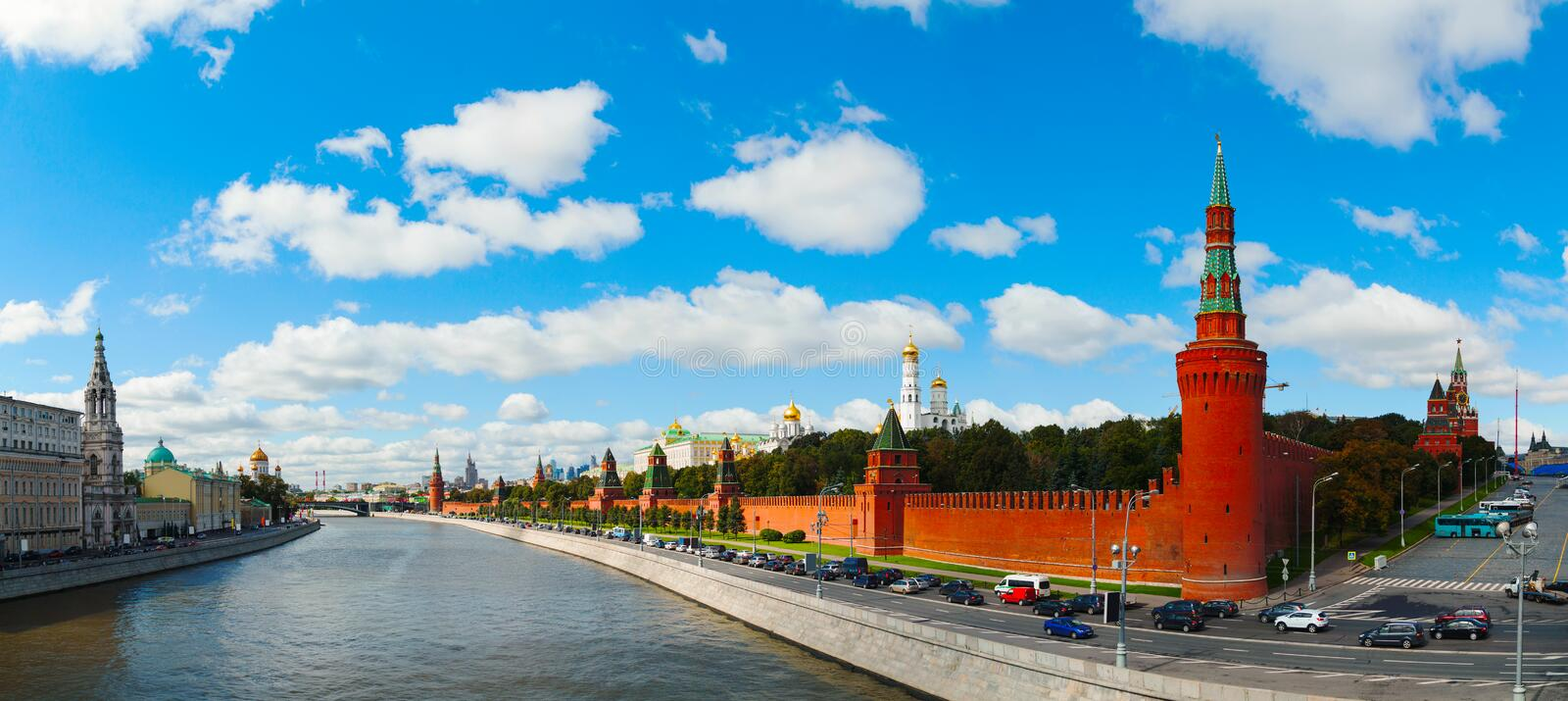 Panoramic overview of downtown Moscow with Kremlin royalty free stock photo