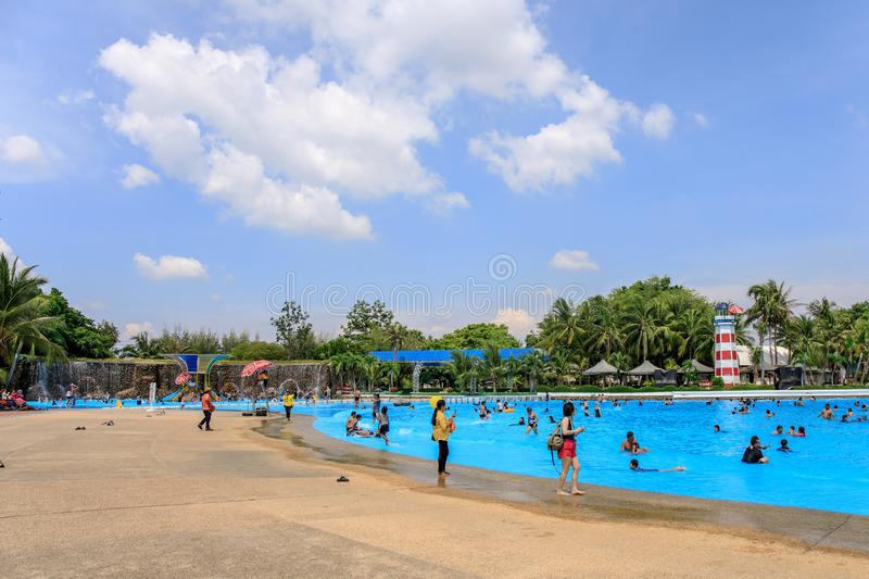Panoramic or panorama of Large or huge swimming pool of Siam Park City or SuanSiam, Bangkok, Thailand stock photos