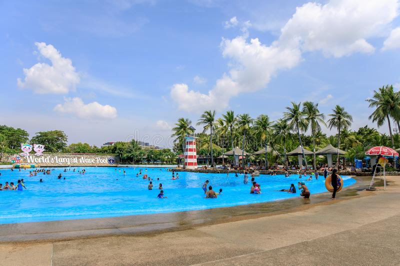 Panoramic or panorama of Large or huge swimming pool of Siam Park City or SuanSiam, Bangkok, Thailand stock photo