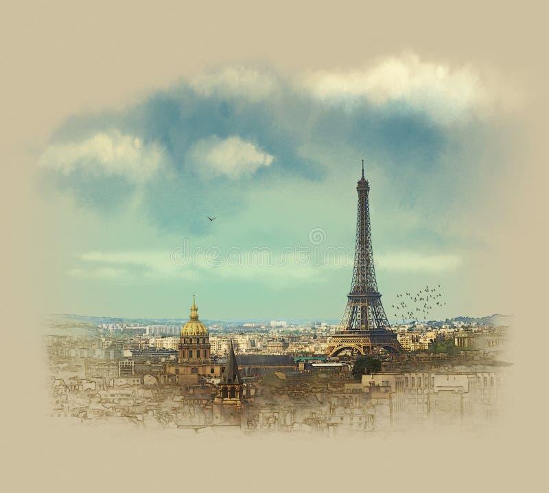 Panoramic Paris view Eiffel tower. Watercolor sketch. Sepia. stock photos