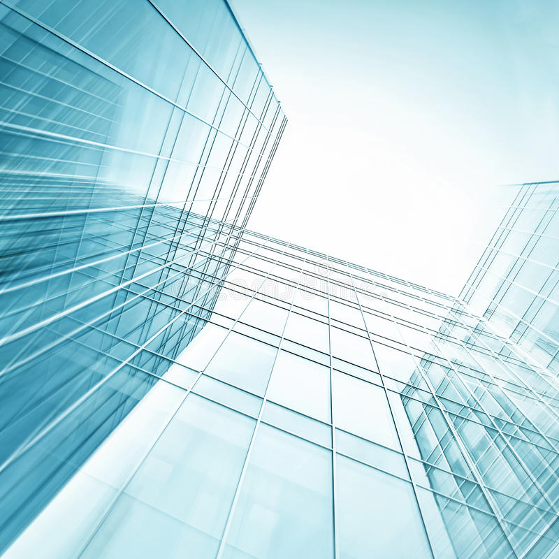Panoramic and perspective wide angle view to steel. Light blue background of glass high rise building skyscraper commercial modern city of future. Business royalty free stock photos