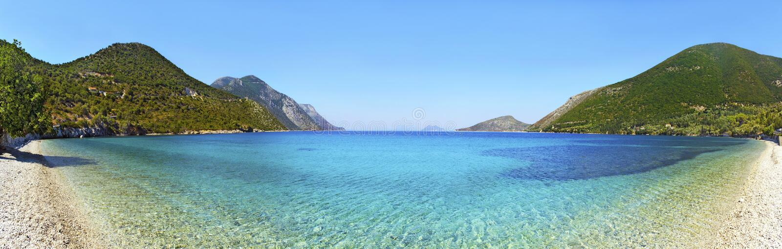 Panoramic photo of a beach in Ithaca. Greece stock image
