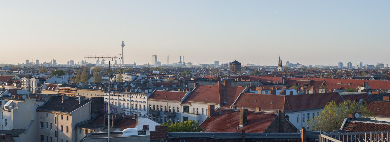 Panoramic photo: Berlin. Beautiful panoramic photo of Berlin at dusk, taken from a rooftop stock images
