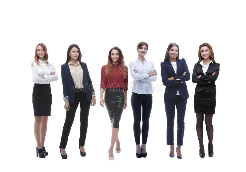 Panoramic photo of a big business team standing together. Isolated on white background stock image