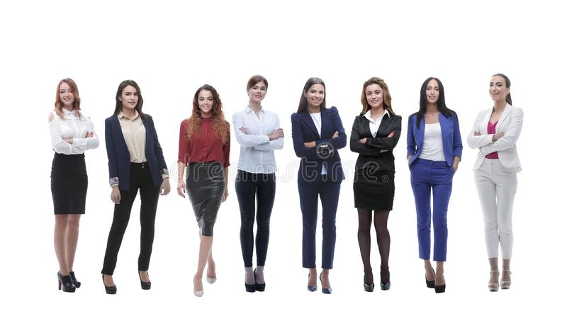 Panoramic photo of a big business team standing together royalty free stock photo