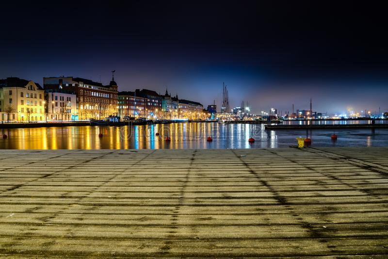 Panoramic Photo of City Buildings during Night Time royalty free stock image