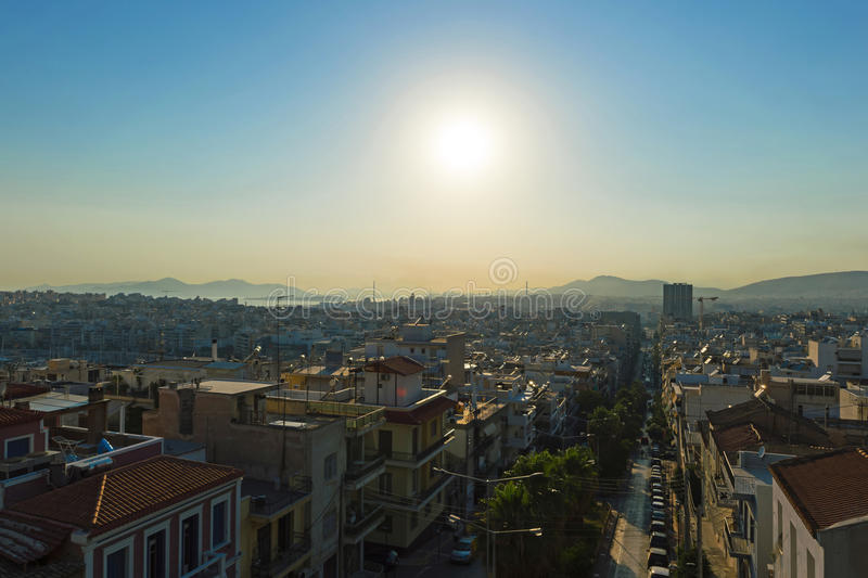 Panoramic photo of the city of Piraeus stock photo