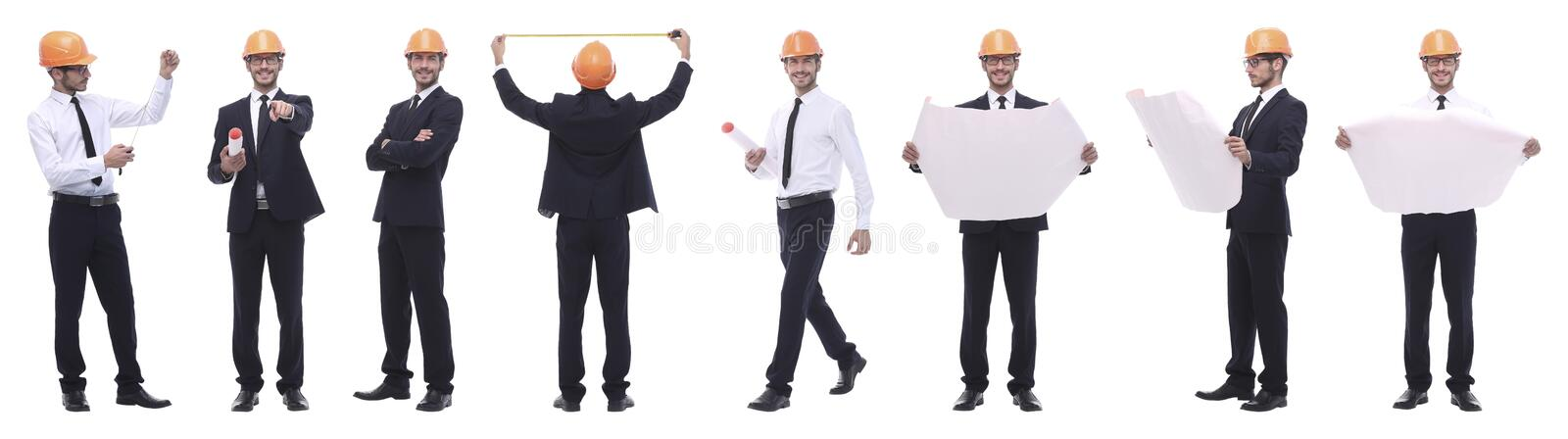 Panoramic photo collage of architect expert isolated on white royalty free stock photo