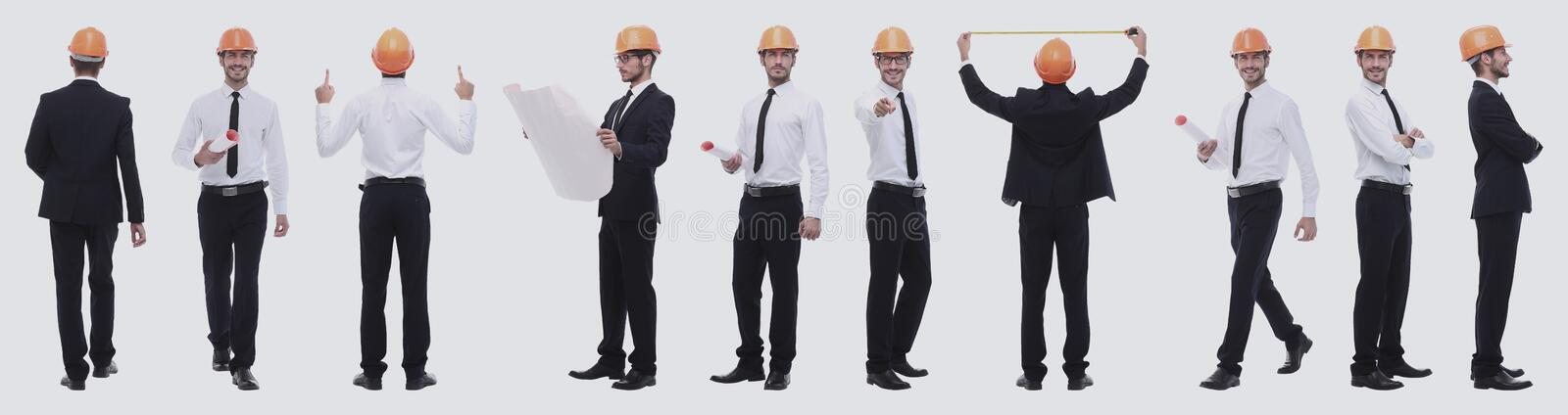 Panoramic photo collage of confident architect isolated on white stock image