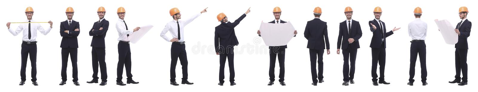 Panoramic photo collage of confident architect isolated on white stock photography