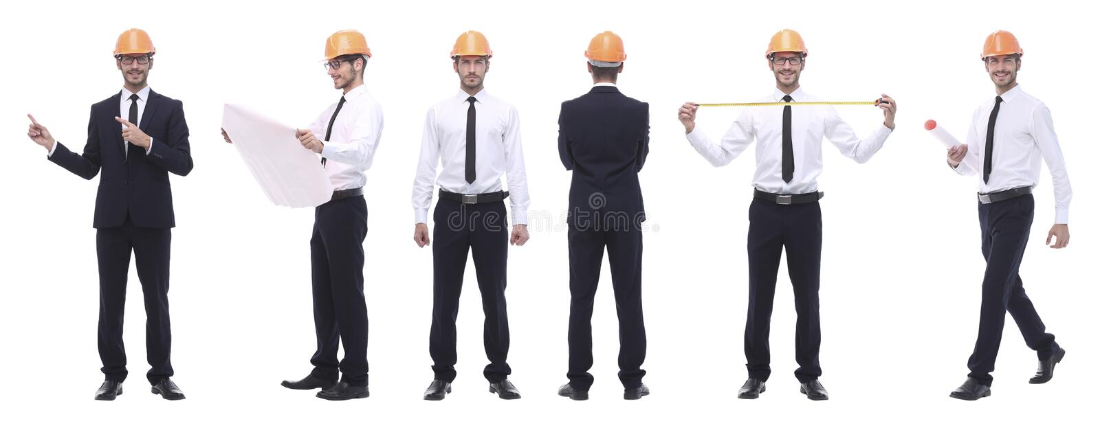 Panoramic photo collage of qualified architect isolated on white stock photos