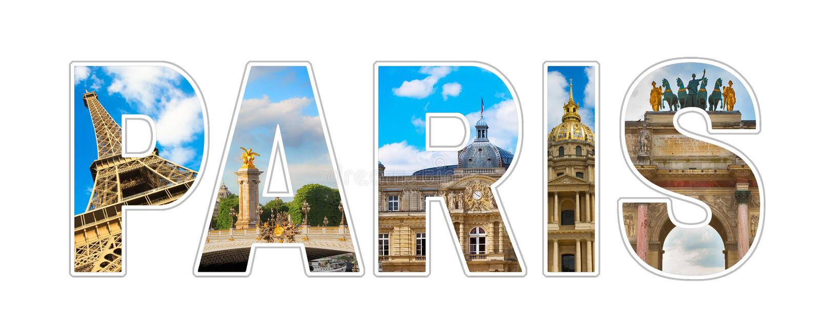 Panoramic Photo collage Text Paris royalty free stock image