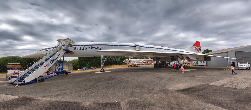 Panoramic photo of British Airways Concorde (callsign Delta Golf). A panoramic photo of British Airways Concorde, callsign DG Delta Golf. The aircraft stock photos