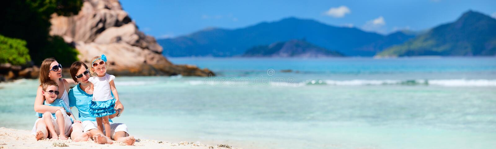 Panoramic photo of family on vacation stock image
