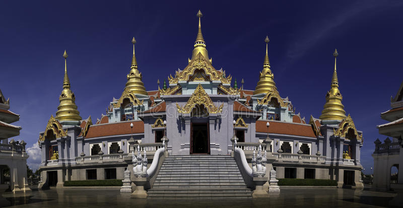 Panoramic photo a famous golden Thailand temple royalty free stock images