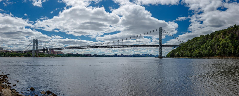 Panoramic Photo Of George Washington Bridge Over H Royalty Free Stock Photo