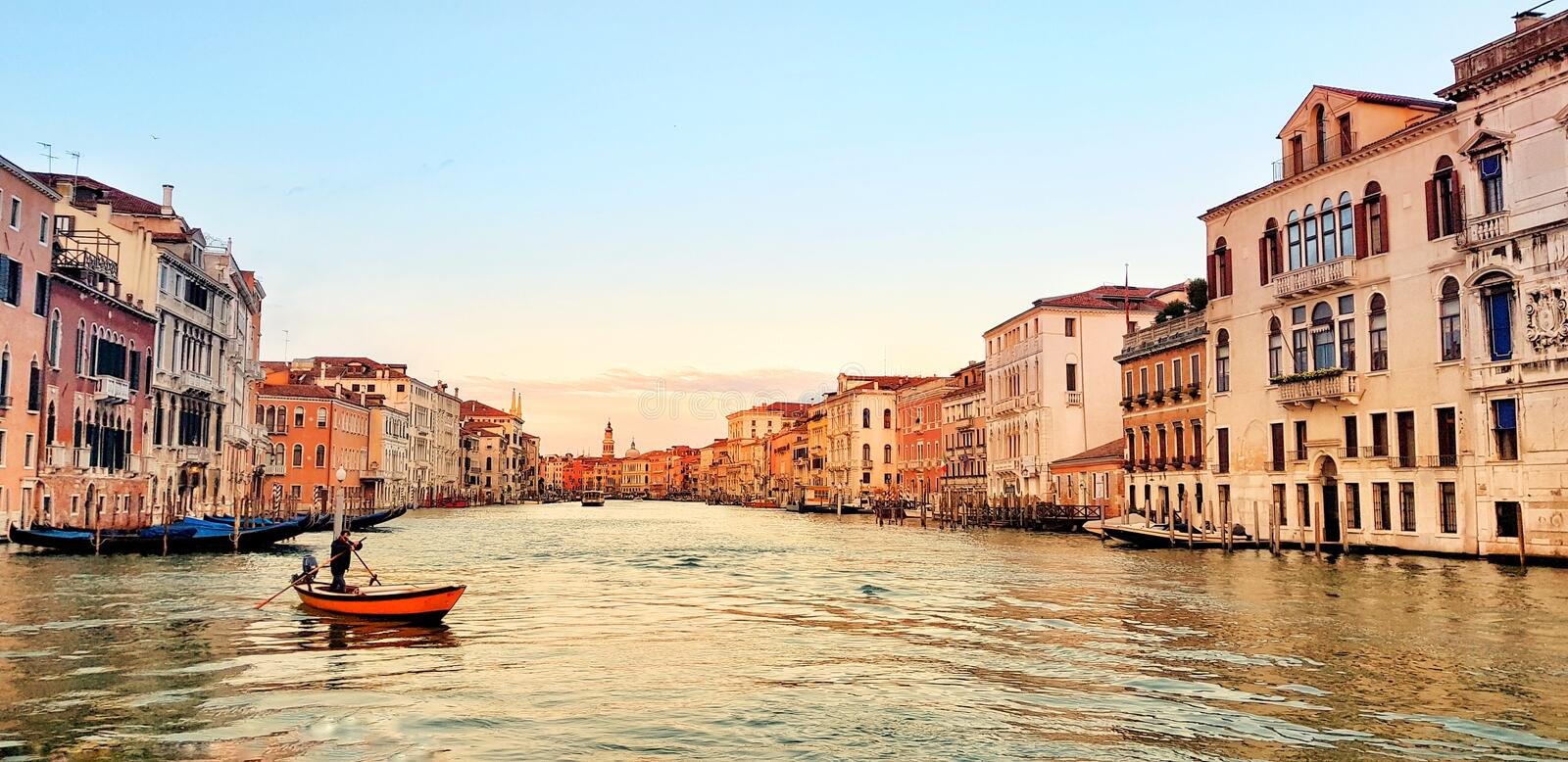 Panoramic photo of the Grand Canal in Italian Venice. In the morning royalty free stock photo