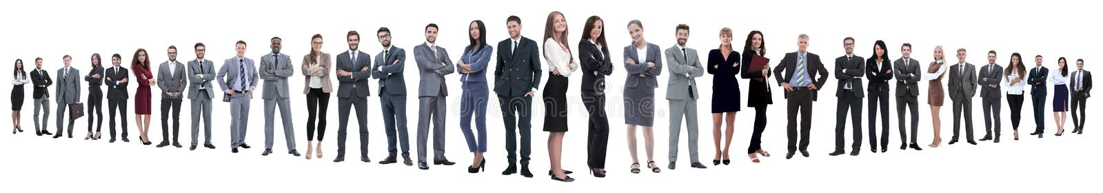 Panoramic photo of a group of confident business people. Isolated on white background royalty free stock images