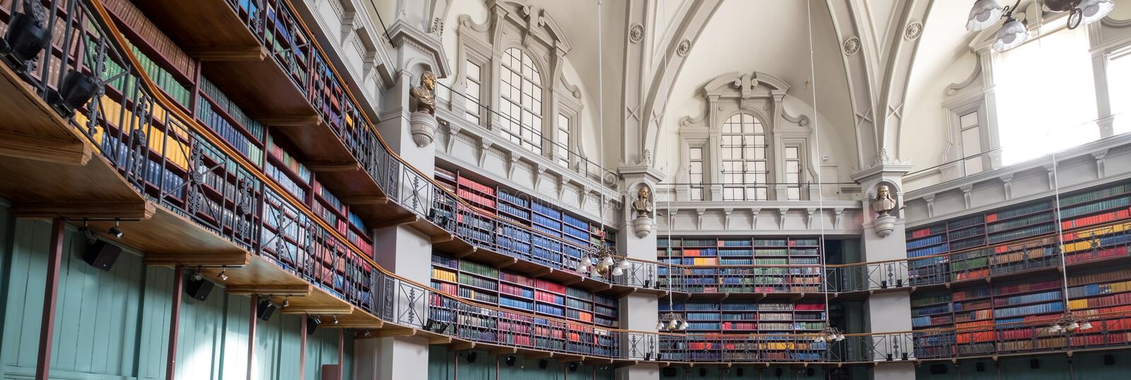 Panoramic photo of the interior of the historic Octagon Library at Queen Mary, University of London, Mile End UK. royalty free stock image