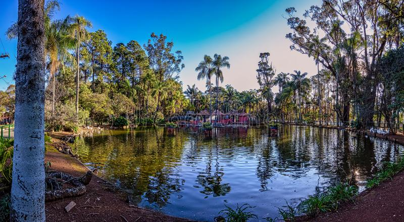Panoramic photo of lake in municipal park in the city of Pocos de Caldas, Minas Gerais - Brazil royalty free stock photos