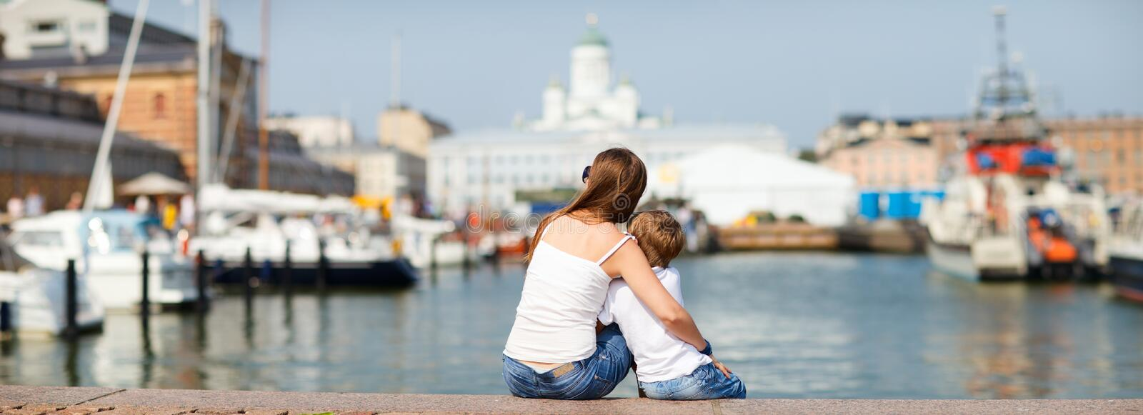 Panoramic photo of mother and son royalty free stock image