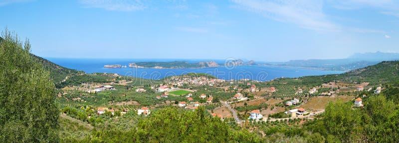 Panoramic photo of Navarino bay and Sphacteria island Greece. Panoramic photo of Navarino bay and Sphacteria island Messinia Peloponnese Greece royalty free stock photo
