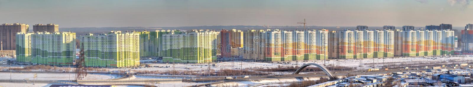 Panoramic photo, new residential area in north city, Saint-Petersburg, Russia. royalty free stock photos
