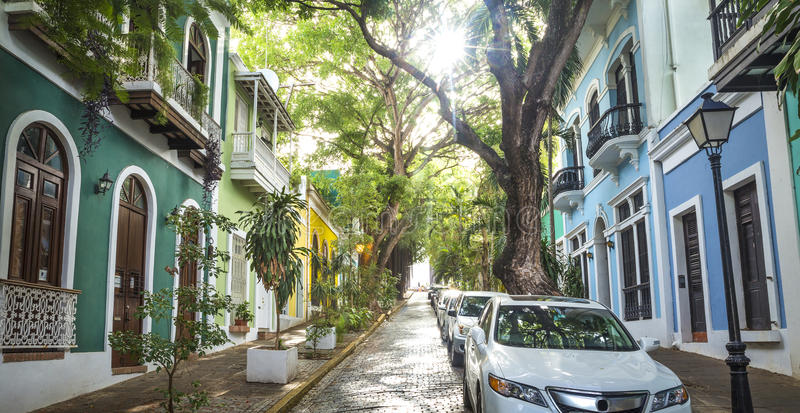 Panoramic photo of Old San Juan street in Puerto Rico stock photography