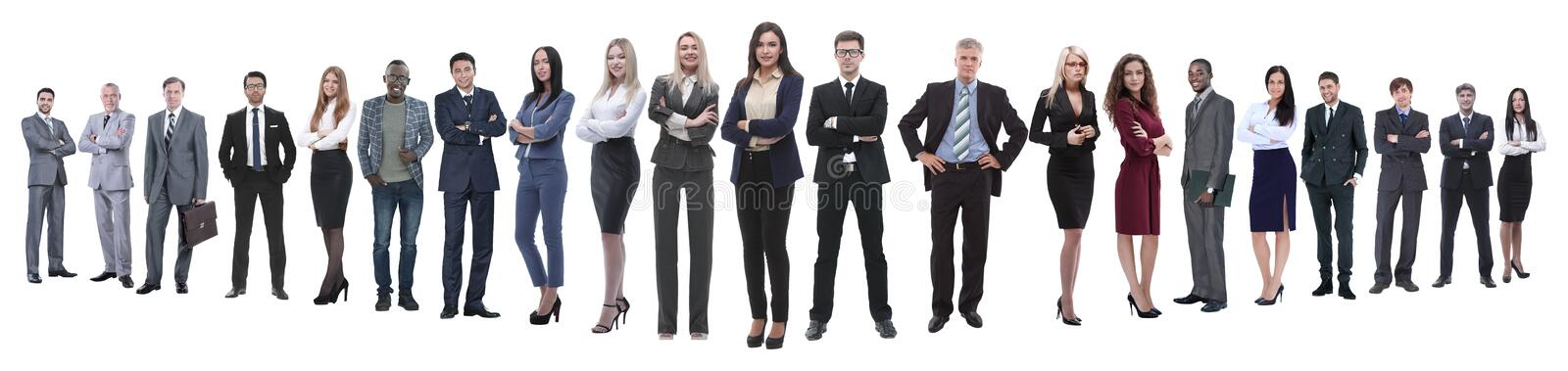 Panoramic photo of a professional numerous business team stock photos