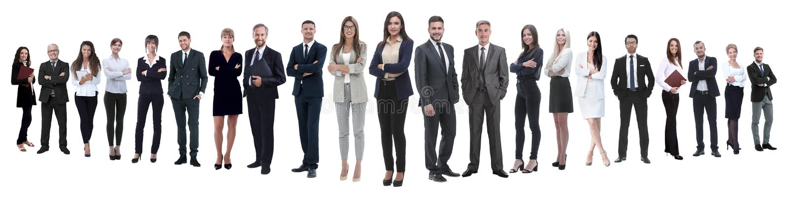 Panoramic photo of a professional numerous business team royalty free stock photography