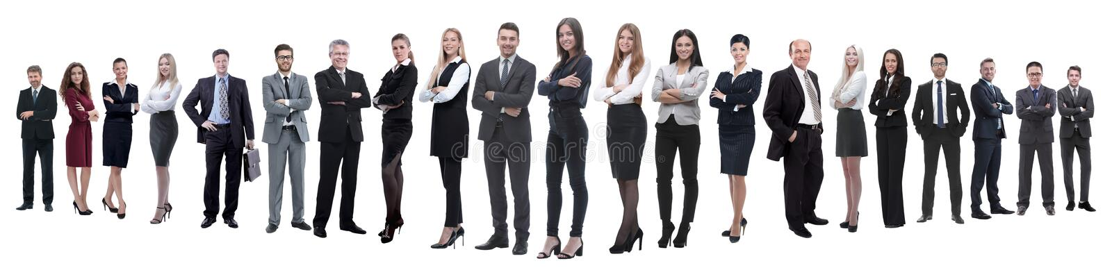 Panoramic photo of a professional numerous business team. Isolated on white background royalty free stock photo