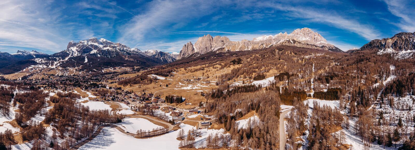 Panoramic photo Sunrise in Dolomites mountains South Tyrol, Italy. Aerial top view stock photo