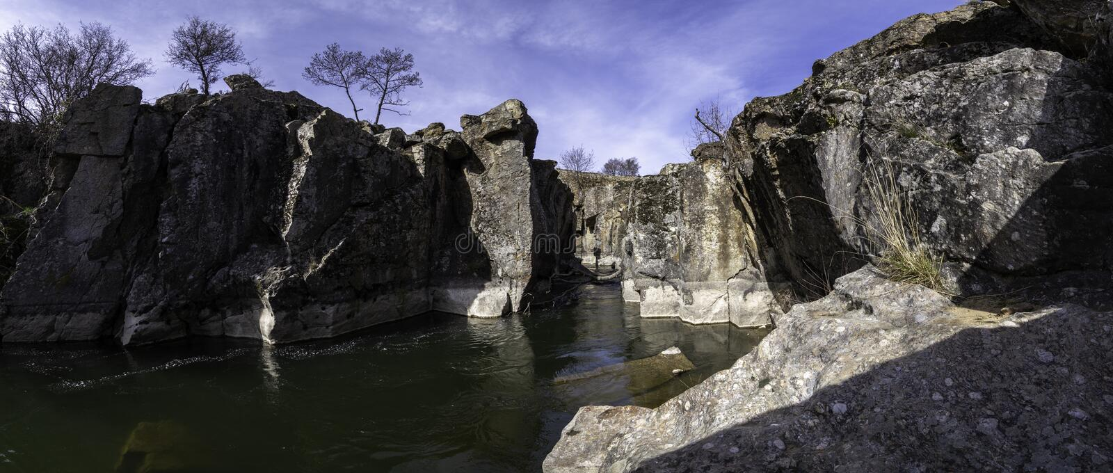 Panoramic photograph of the canyon through which the Lozoya River flows, Madrid, Spain. Panoramic photograph of the canyon through which the Lozoya River flows stock photos
