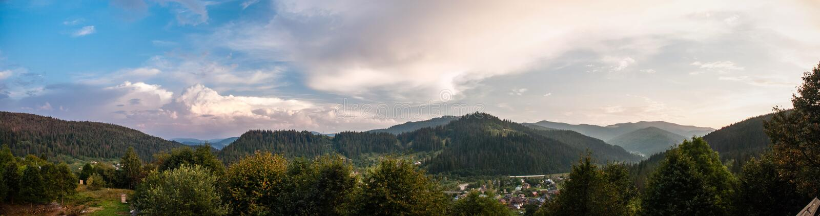 Panoramic photograph of the Carpathian Mountains Ukraine, Yaremche.  stock photos