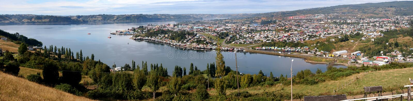 Panoramic photograph of Castro, Chiloe Island. The city of Castro, is the capital of the province of Chiloe, located south of Chile. On the east coast, is home stock photos