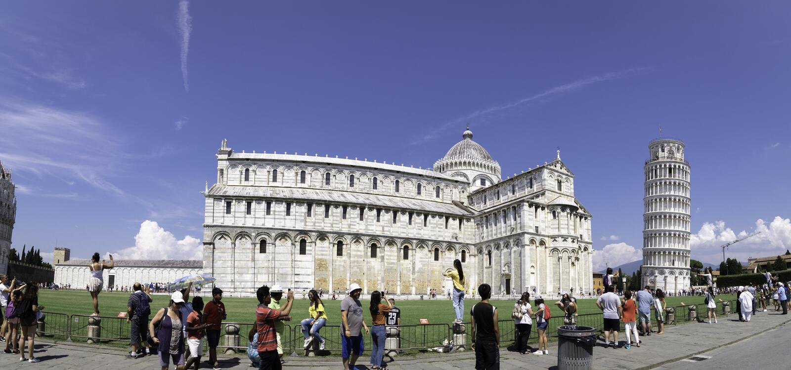 Panoramic photograph of the Cathedral and the Leaning Tower of Pisa, Italy. Panoramic photograph of the esplanade of the Cathedral and the Leaning Tower of Pisa stock image