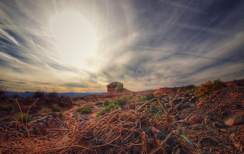 Panoramic views of Arizona desert in Valley of Fire. Panoramic photograph of the desert in colorado, near Valley of Fire. Photo taken on october 17th royalty free stock photo