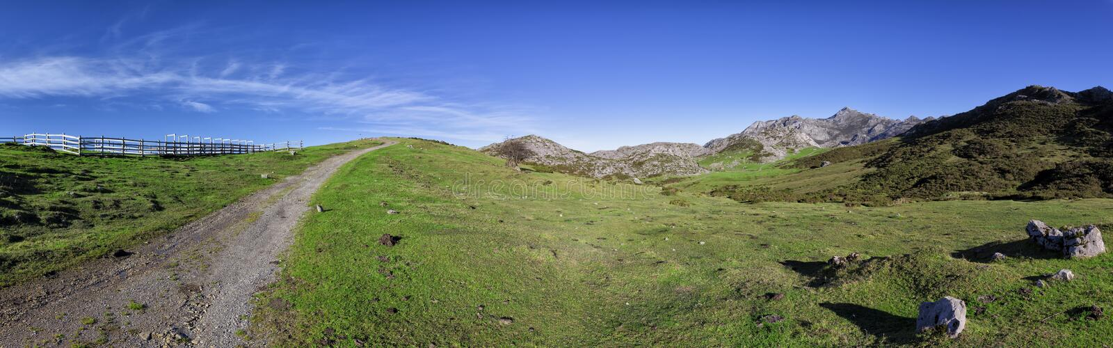 Panoramic photograph of a landscape of the Picos de Europa National Park. In Spain royalty free stock photography