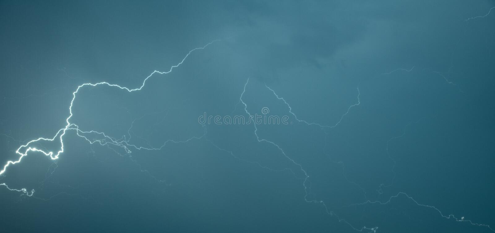 Panoramic photograph lightning flashes. Across the sky stock photos