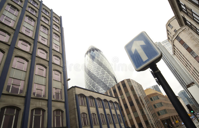 Panoramic photograph of London central district. With The Gherkin royalty free stock photos