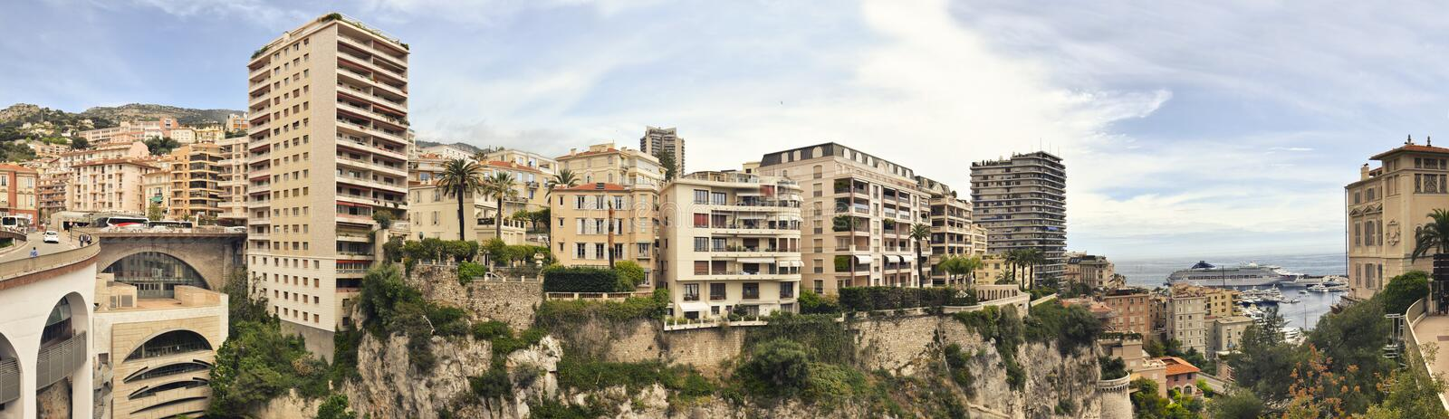 Panoramic photograph of principality of Monaco. Panoramic photograph of Monte Carlo royalty free stock photos