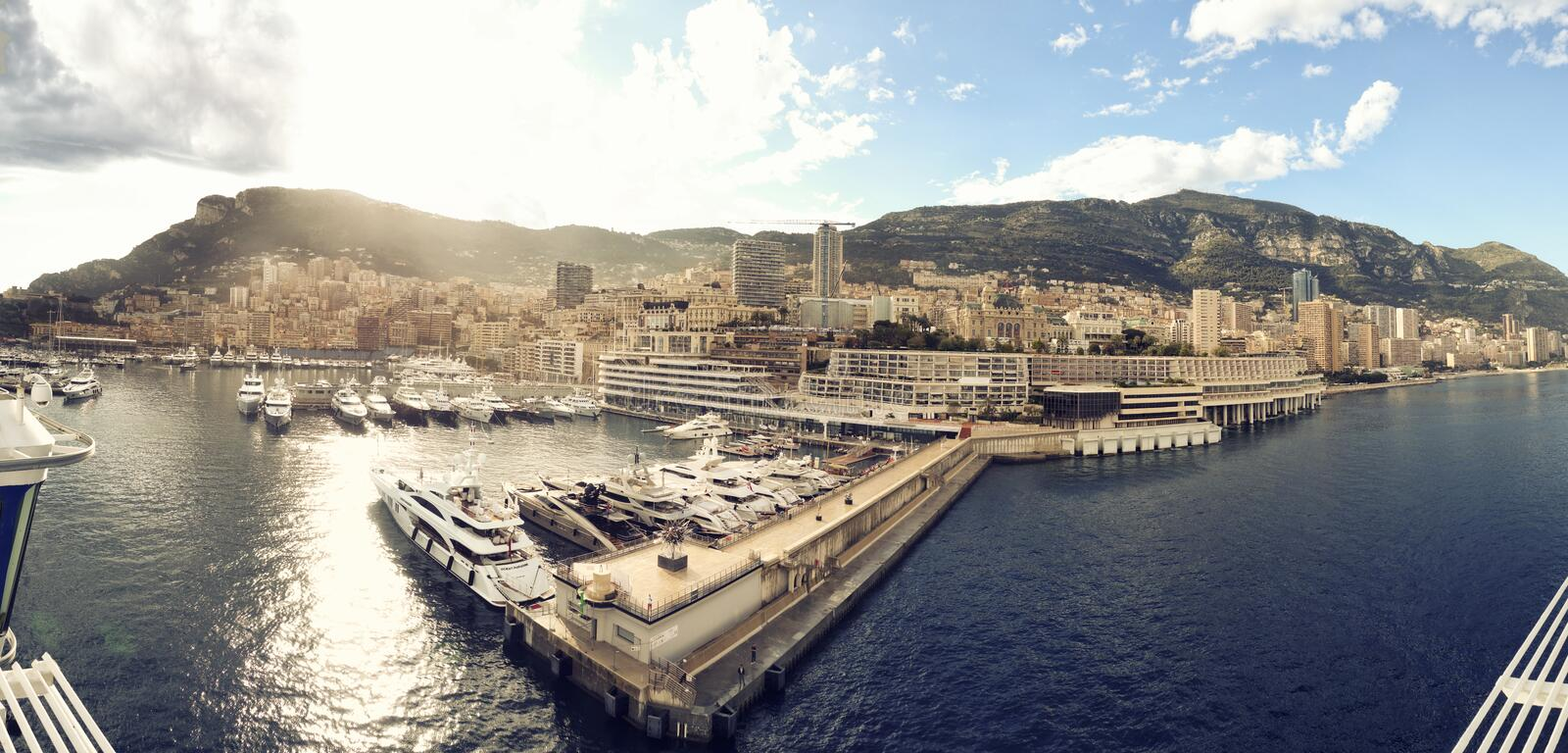 Panoramic photograph of principality of Monaco. Panoramic photograph of principality of Monte Carlo yacht port stock photos