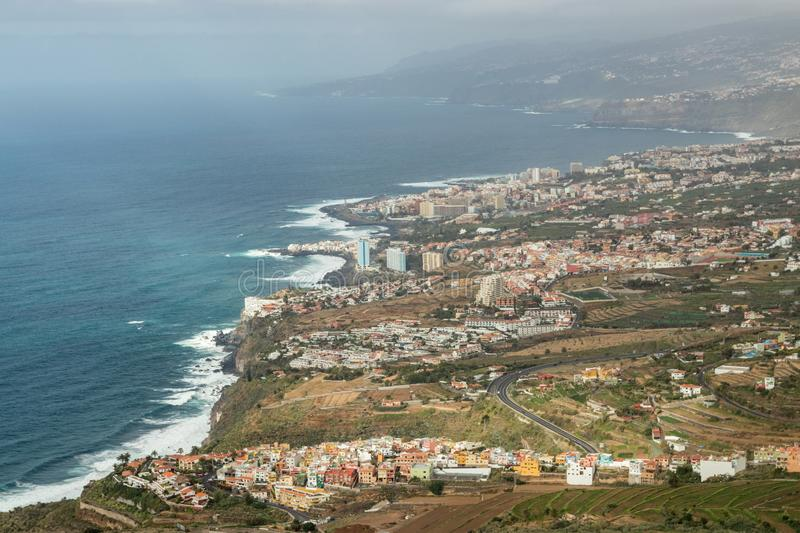 This panoramic photograph, taken at a Mirador de El Lance, shows the north coast of Tenerife and the Orotava Valley. Tenerife,. Canary Islands royalty free stock photography