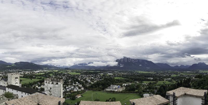 Panoramic view from the keep of the Hohensalzburg Fortress Festung Hohensalzburg, Salzburg, Austria. Panoramic photograph of the views from the fortress of the royalty free stock images