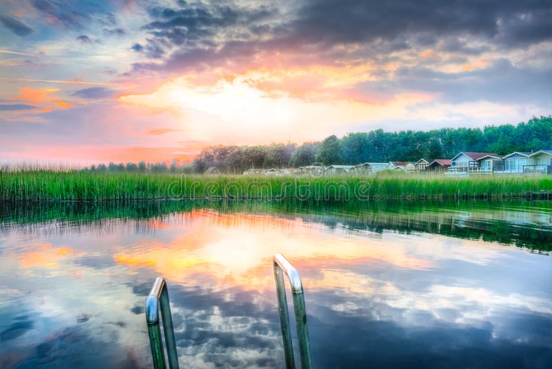 Panoramic Photography of Lake during Sunset royalty free stock photo