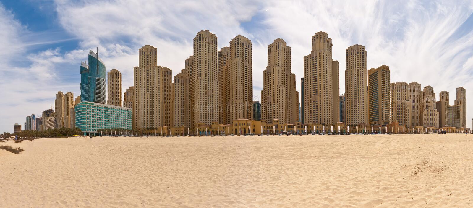 Panoramic picture of apartment buildings in Dubai Marina district. In November 2014 royalty free stock photo