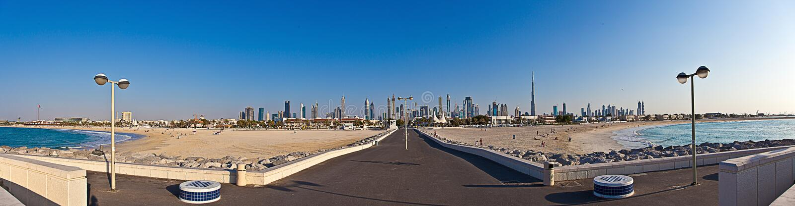 Panoramic picture of the Dubai skyline during daytime. In November 2014 stock images