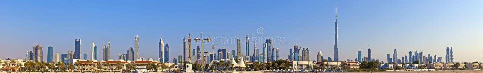 Panoramic picture of the Dubai skyline during daytime. In November 2014 royalty free stock image
