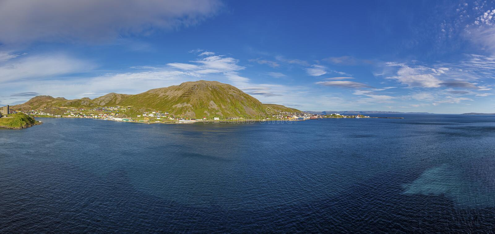 Panoramic picture of isolated Norwegian village of Honningsvag close to north cape in summer. Panoramic picture of isolated Norwegian village of Honningsvag stock photos
